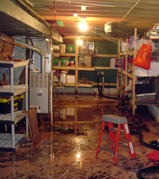 a flooded home in Pinehurst